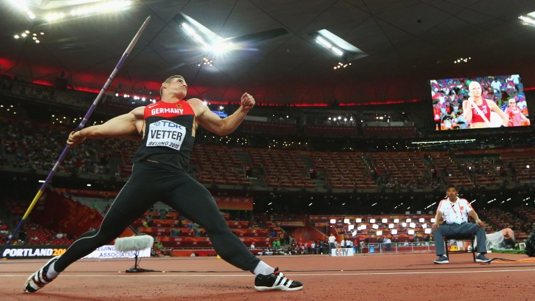 Johannes Vetter launches a javelin