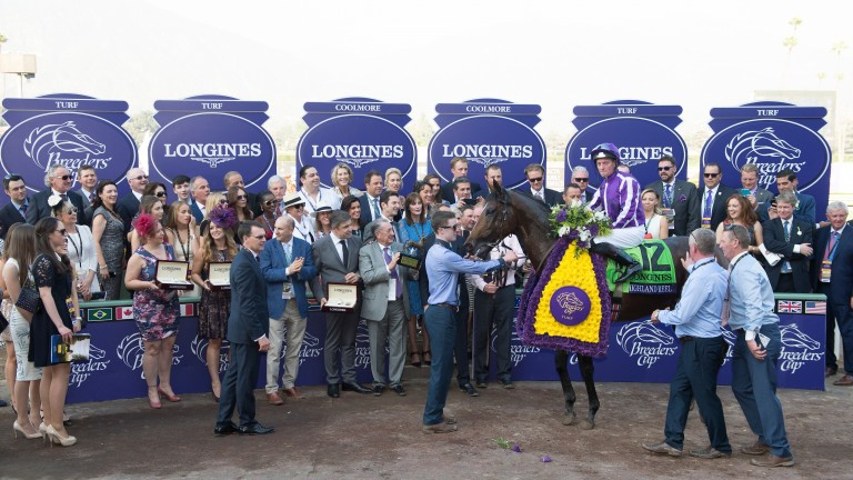 Highland Reel wins the Breeders' Cup Turf at Santa Anita in 2015, another winner at the meeting for Aidan O'Brien.