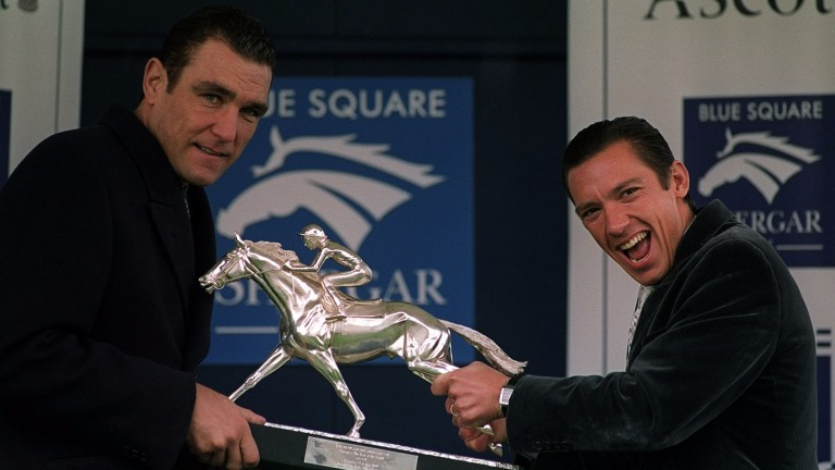 Vinnie Jones and Frankie Dettori at the launch of the Shergar Cup in 2001: a return of celebrity team captains could be in the offing