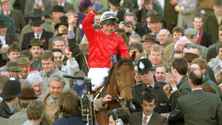 The Fellow returns to the winner's enclosure having at last ended his Gold Cup hoodoo at the fourth attempt