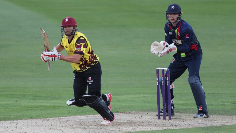 Somerset's James Hildreth clips into the leg side during the reverse fixture at Kent
