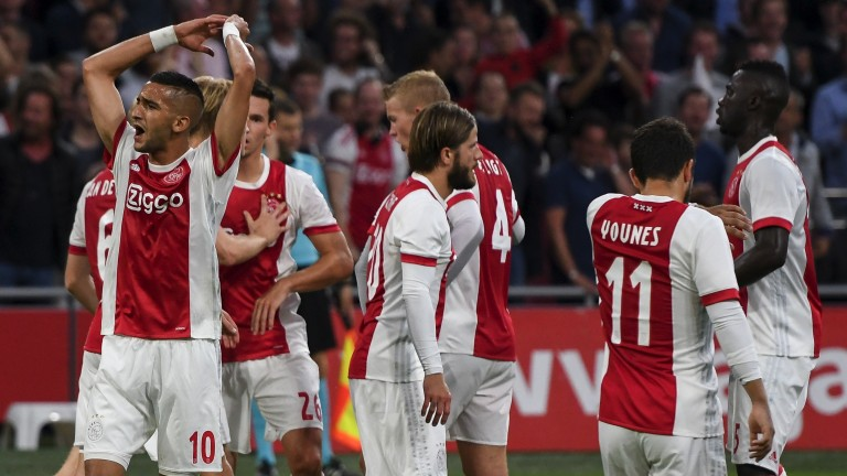 Ajax celebrate a goal against Nice