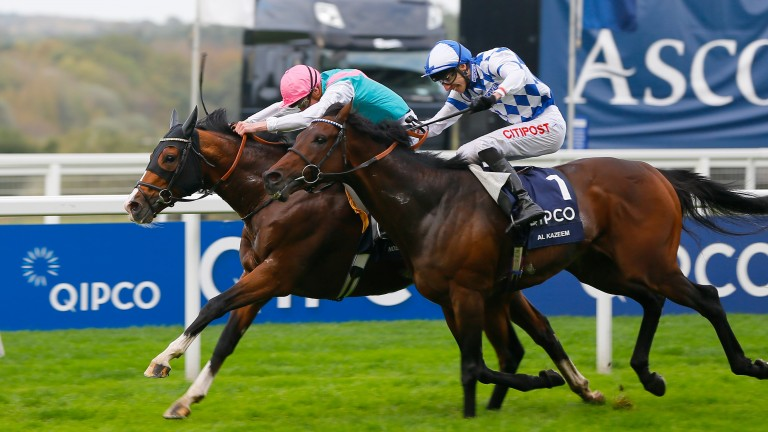 Noble Mission (far side) emulates his brother Frankel by winning the 2014 Champion Stakes
