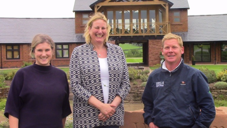 Conservative MP Antoinette Sandbach (centre) with Laura Bewick and Tom Dascombe