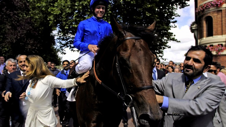 Princess Haya and Sheikh Mohammed lead Dubawi into the Deauville winner's enclosure after winning the 2005 Prix Jacques le Marois