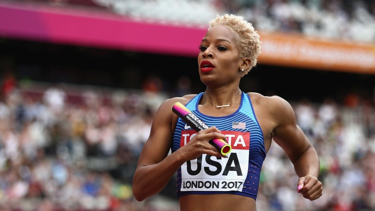 Natasha Hastings of the USA in the Women's 4x400m