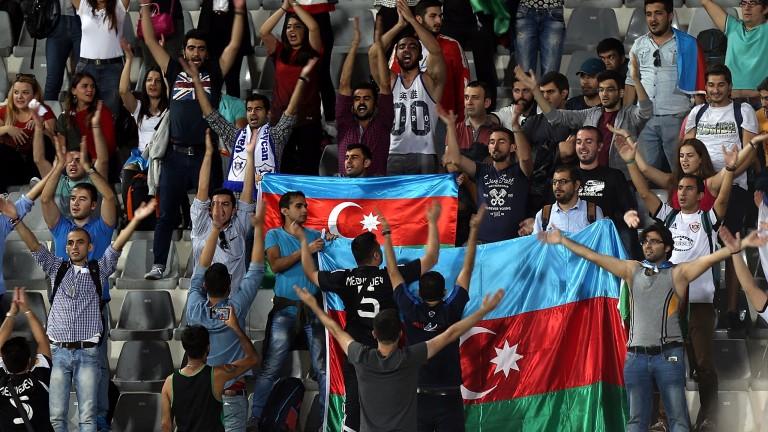 Fans of Qarabag get behind their team