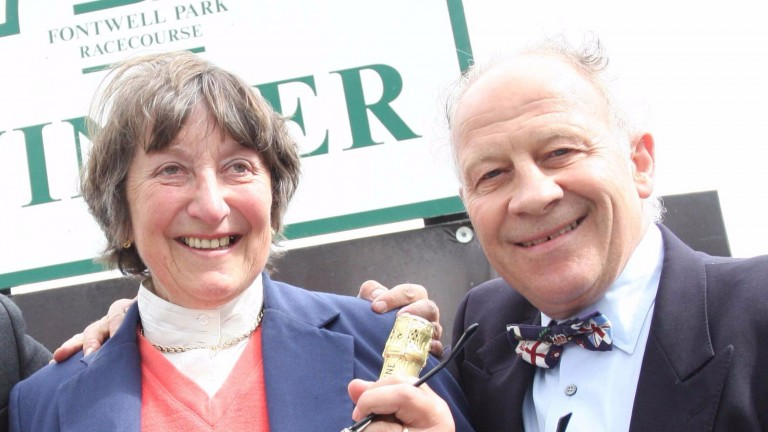 Colin Brown, pictured with former trainer Henrietta Knight, is 62 today
