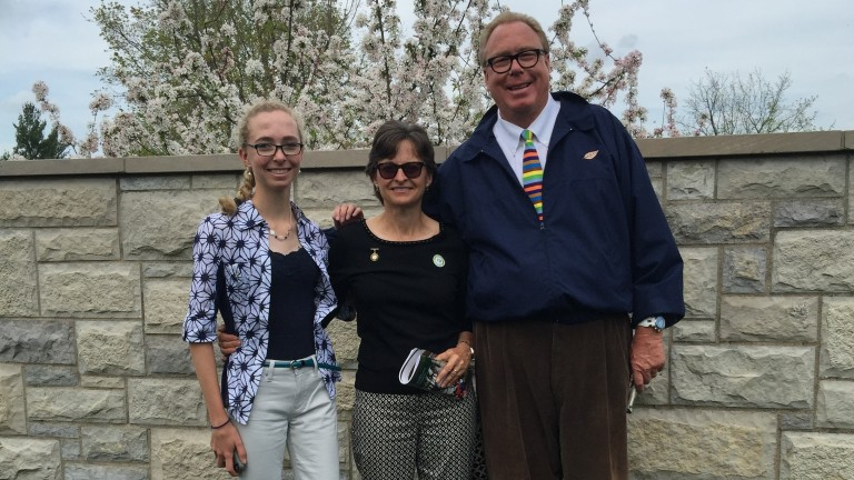 Ben and Elaine Walden with their daughter Hope at Keeneland