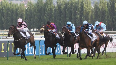 First Sitting (G Mosse) winning the Prix Gontaut-Biron Hong Kong Jockey Club (Group 3) from Garlingari (right) with Almanzor behind on railsDeauville, France 15.08.17Pic focusonracing.com