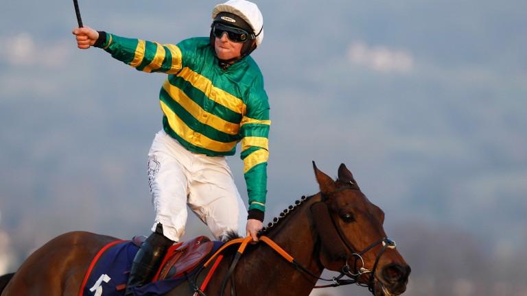 Jamie Codd celebrates winning the Kim Muir on Cause Of Causes