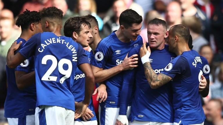 Wayne Rooney celebrates against Stoke