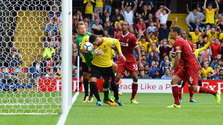 Miguel Britos - deadly from that range - earns Watford a 3-3 draw with Liverpool