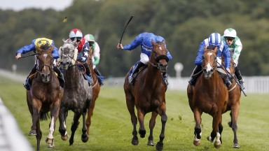 Totepool Sovereign Stakes, Salisbury: progressive Ballet Concerto (left) beats Tabarrak (right) and Carry On Deryck (middle) under a patient Ryan Moore