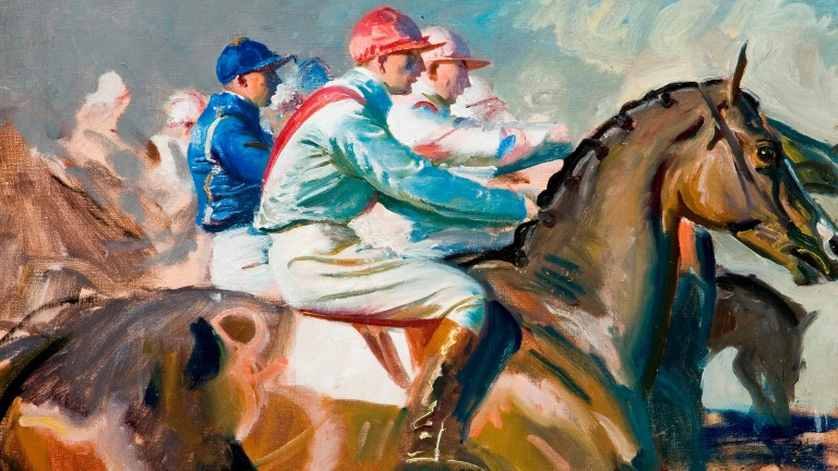 Sir Alfred Munnings' Under Starter's Orders: on show in Newmarket