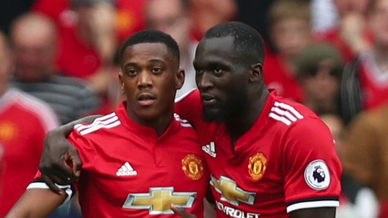 Man United's Anthony Martial (left) and Romelu Lukaku