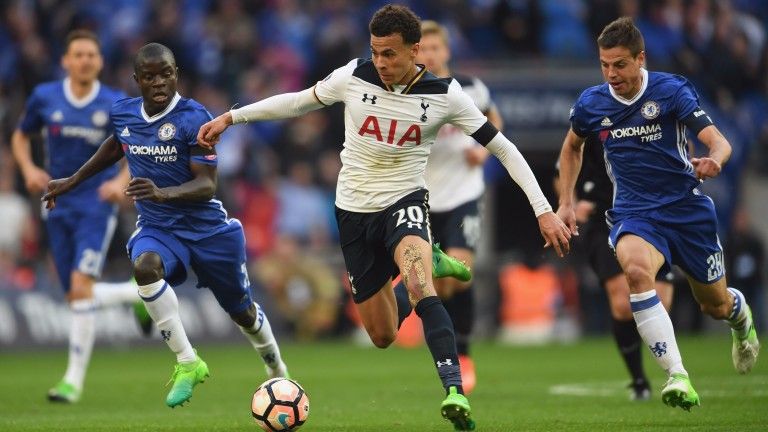 Tottenham's Dele Alli runs at the Chelsea defence