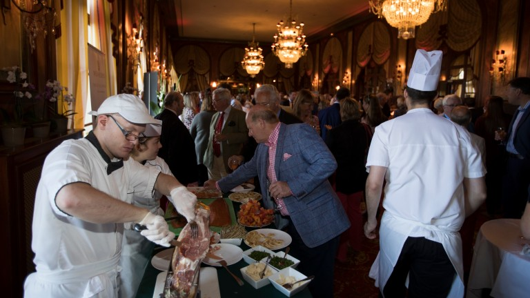 Guests sample the food at the Racing Post and Weatherbys reception at the Hotel Royal Barriere which was held prior to the first session of trade at Arqana on Saturday