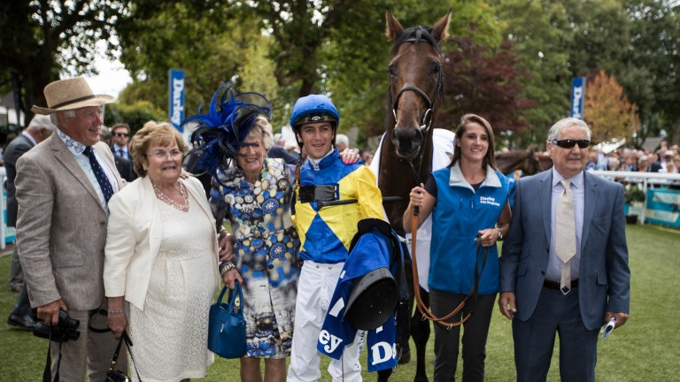 The Fairy Story Partners and Christophe Soumillon celebrate after Marmelo's win in the 2017 Darley Prix Kergorlay