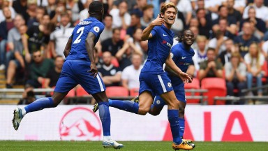 Marcos Alonso scored both Chelsea goals at Wembley