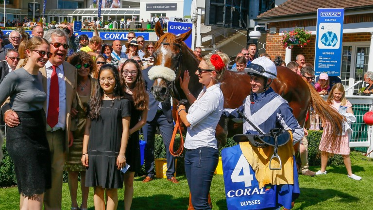 The Ulysses team celebrate after victory in the Coral-Eclipse at Sandown