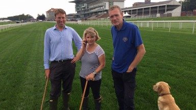 William Derby, Anthea Morshead and Adrian Kay complete their Tuesday afternoon walk of the Knavesmire