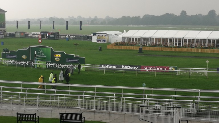Gloomy conditions at York where the rain started at 10.20am