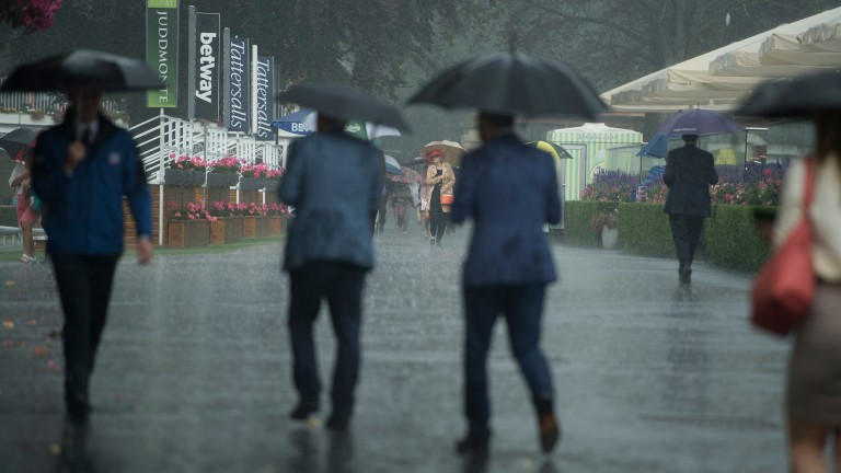 Racegoers brave the elements as the heavens open at York
