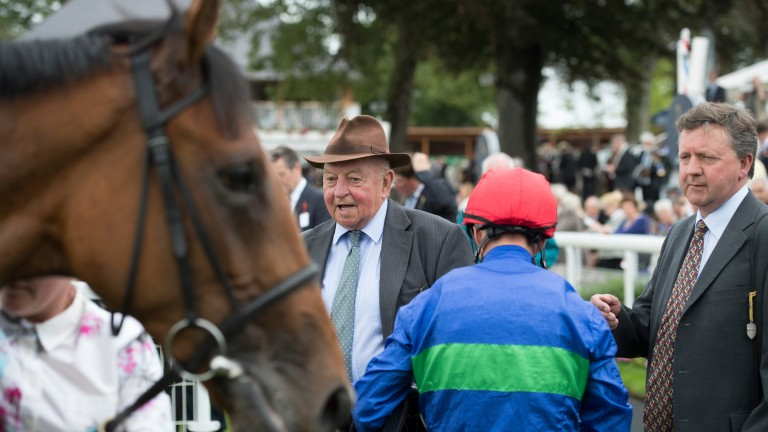 Tim and Peter Easterby admire Wells Farhh Go after his Acomb Stakes success