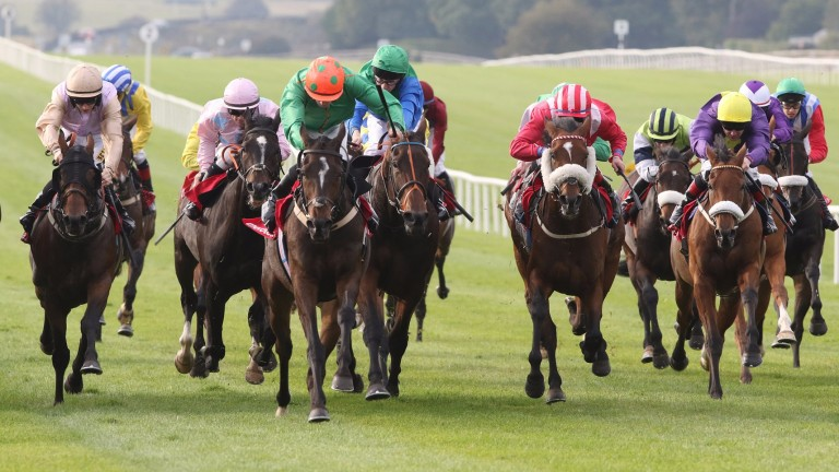 Digeanta (orange cap): Danny Sheehy claims 7lb off the 2015 Irish Cesarewitch winner