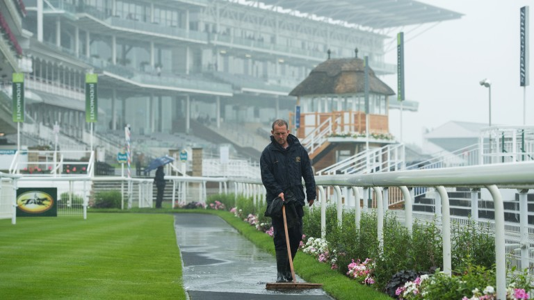 Excess water: a member of the racecourse staff attends to a soggy situation in the paddock