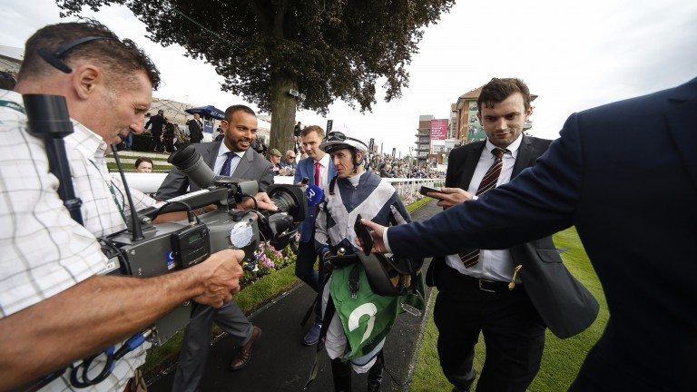 YORK, ENGLAND - AUGUST 23:  Jim Crowley after riding Ulysses to win The Juddmonte International Stakes at York racecourse on August 23, 2017 in York, England. (Photo by Alan Crowhurst/Getty Images)