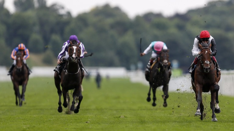 Cracksman (right) leaves his rivals toiling as he draws six lengths clear in a crushing win