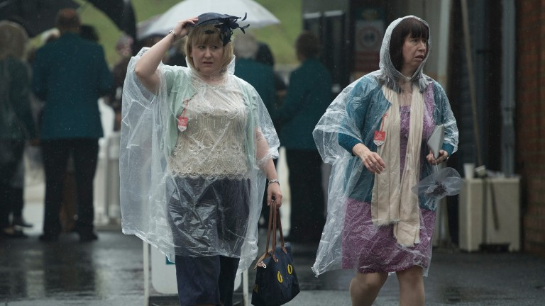 Racegoers get a soaking arriving at the Ebor Festival
