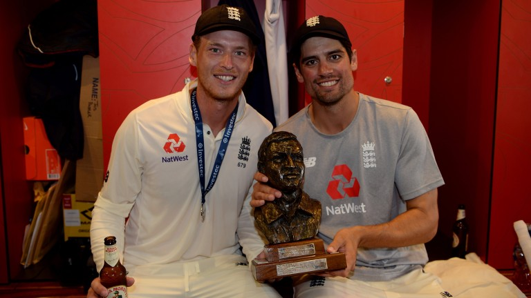 Tom Westley (left) celebrates the series win over South Africa with Alastair Cook