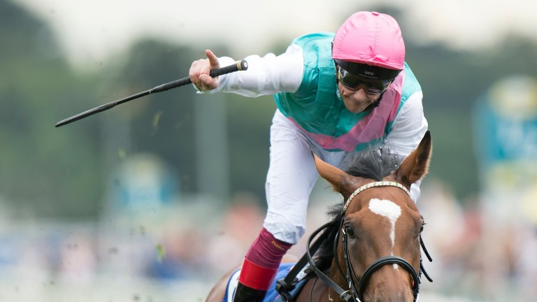 Frankie Dettori celebrates victory on the 'awesome' Enable