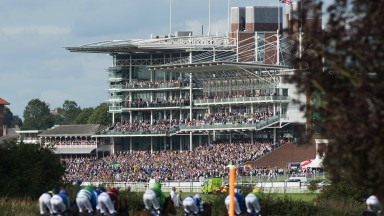 In all its finery: a fabulous shot of the packed stands on the Knavesmire as the runners in the last prepare to enter the straight