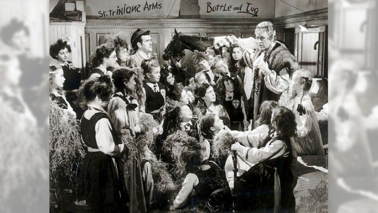 A scene from the 1954 film The Belles of St Trinian's, where the girls keep a racehorse in their dormitory