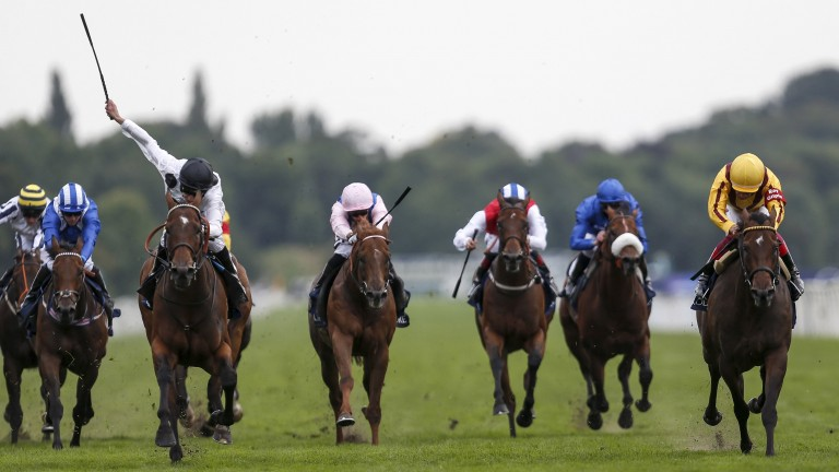 Battaash (second left) comes under pressure in the Nunthorpe