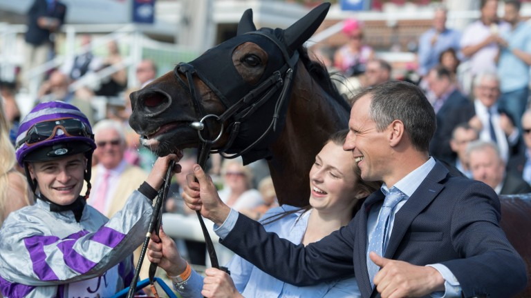 Trainer Iain Jardine with Nakeeta after the horse's Ebor victory