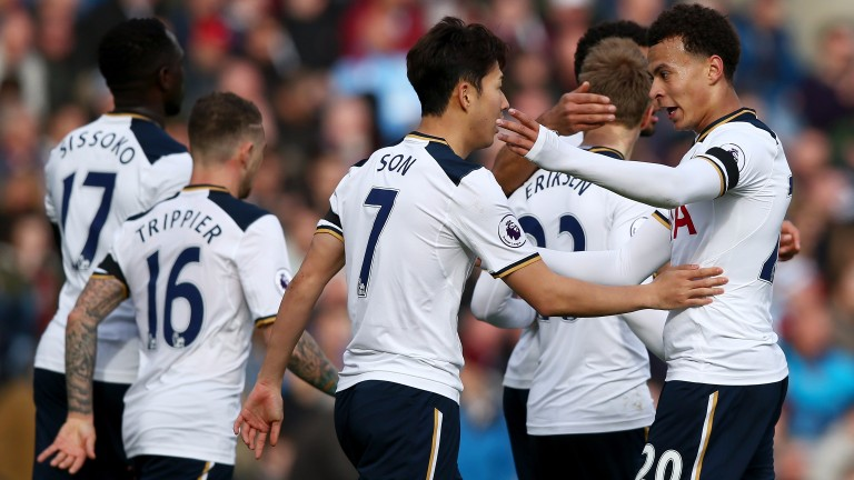 Spurs celebrate a goal against Burnley last season