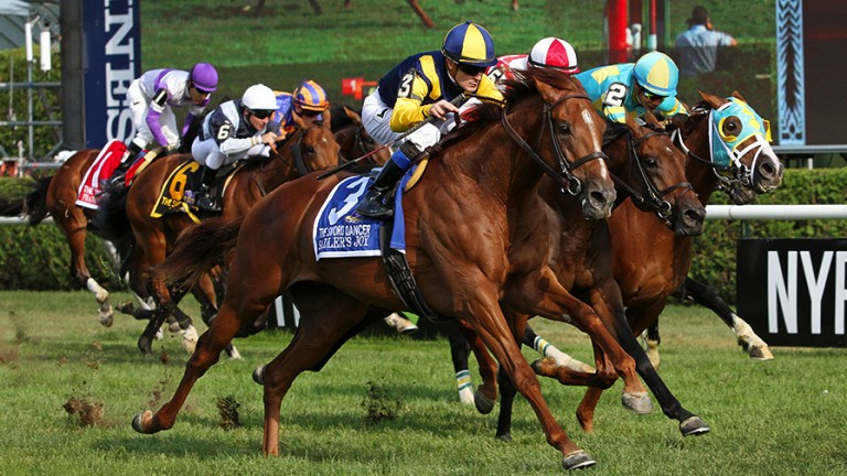 Sadler's Joy (Julien Leparoux, near) sprints home to claim the Sword Dancer, in which Idaho faded in the stretch