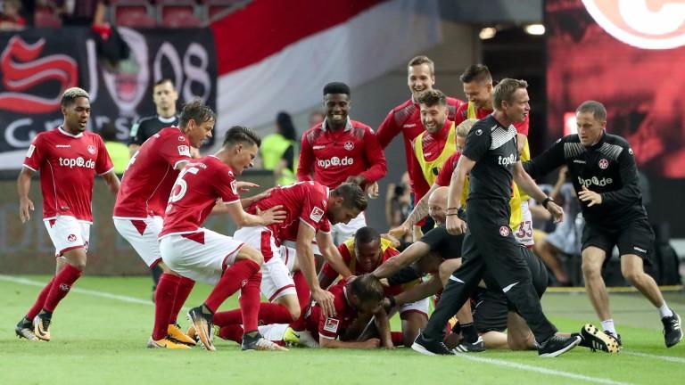 Kaiserslautern celebrate their goal against Darmstadt