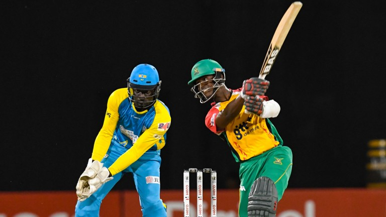 Jason Mohammed smacks a six for Guyana Amazon Warriors on the way to top-scoring against St Lucia Stars last Tuesday