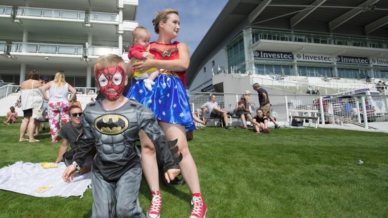 Racegoers dress up on Family Fun Day Superheroes Return dayEpsom 27.8.17 Pic: Edward Whitakerr