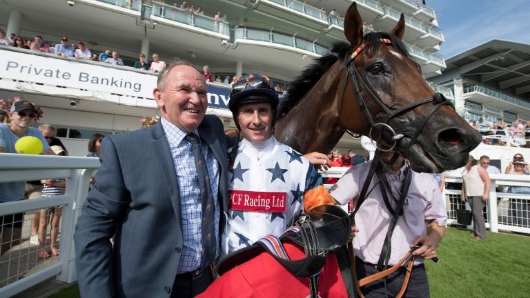 Trainer Peter Hedger and amateur jockey Simon Walker with C'est No Mour