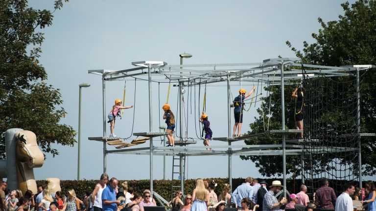 Fun in the sun: racegoers play on the climbing frame as the sun shines on the Downs