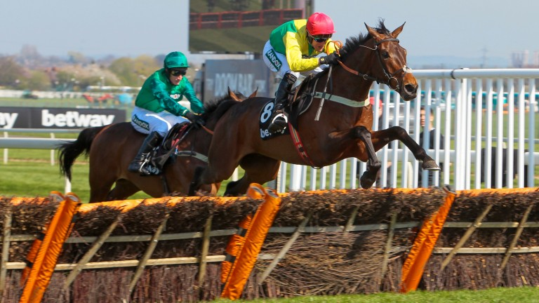 Finian's Oscar and Robbie Power jump the last on their way to Grade 1 success in the Betway Mersey Novices' Hurdle at Aintree