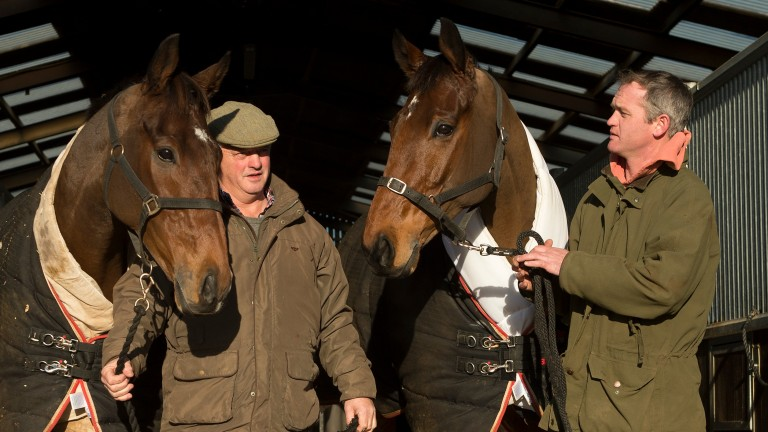 Colin Tizzard (left) with Cue Card and Joe Tizzard with Thistlecrack at Venn farm stables in Dorset in November