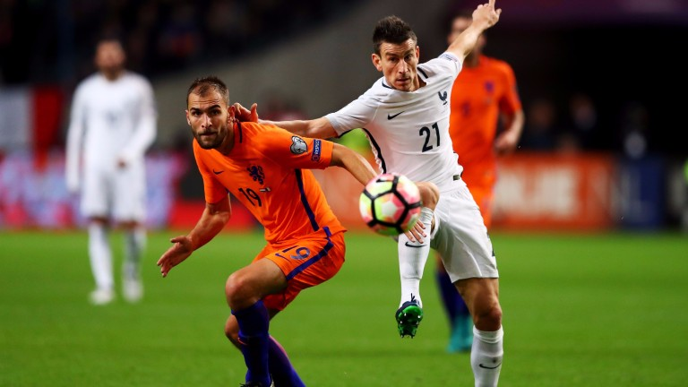 Holland striker Bas Dost (left)